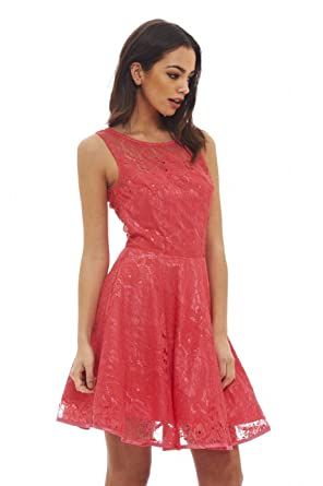 fceaa2dc3698 Amazon.com: AX Paris Women's All Over Lace Skater Dress: Clothing