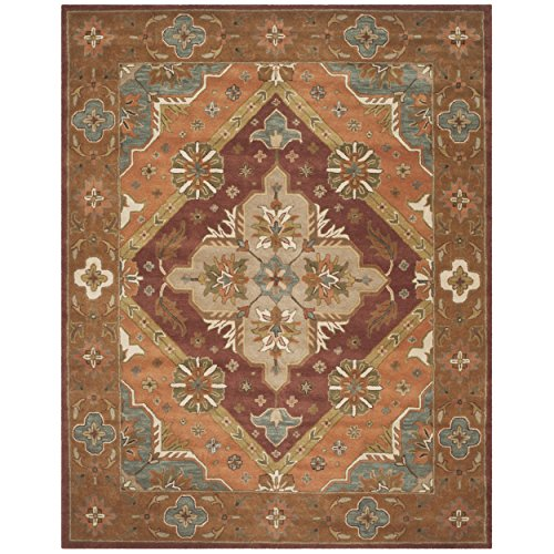 Safavieh Heritage Collection HG948A Handmade Traditional Oriental Rust Wool Area Rug (8′ x 10′)