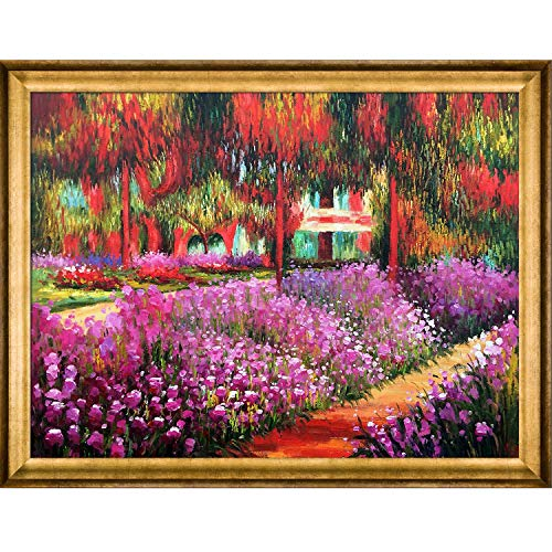 La Pastiche Artist's Garden at Giverny with Athenian Gold Framed Oil Painting, 45