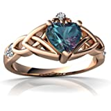 14kt Gold Lab Alexandrite and Diamond 6mm Heart Claddagh Trinity Knot Ring