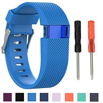 Cyeeson Fitbit Charge HR - Correa de silicona suave de recambio para reloj Fitbit Charge HR, banda con cierre de metal para reloj inteligente Fitbit ...