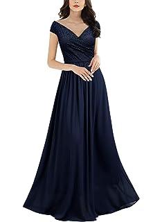 88c906b50c5bf Miusol Women's Vintage Deep-V Neck Sleeveless Wedding Party Maxi Dress