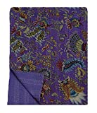 My Craft Palace Queen Size Bedspread Unique Kantha Stitched Blanket Unique Crown Print Purple Quilt
