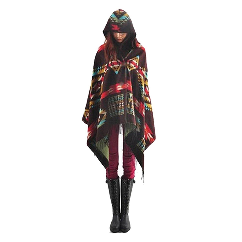 Bohemian Jacket Women Toggle Cape Coat Fringe Poncho Hoodie Hooded Scarf Shawl