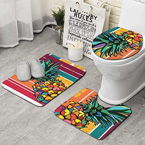 RTRTRTWQE Pineapple Vingtage Retro Wordmarks 3 PCS Set Bathroom Mats Home Extra Soft Latex Backing Non Slip Adds Classical Pattern to Any -