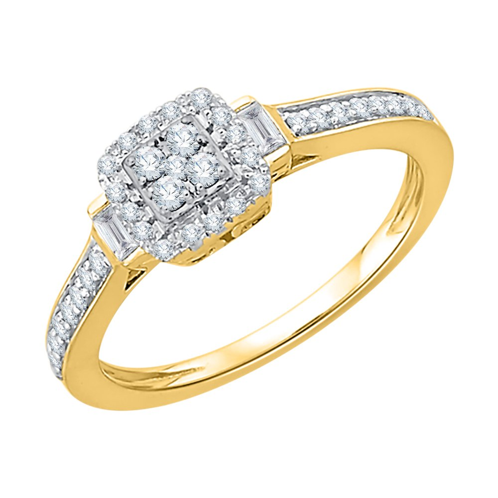 Round and Baguette Cut Diamonds Anniversary Ring in 10K Yellow Gold (2 1/2 cttw) (GH-Color, I2/I3-Clarity) (Size-8.75)