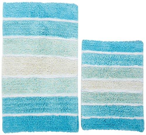 61vefmhOyxL - Chardin Home - 100% Pure Cotton - 2 Piece Cordural  Stripe Bath Rug Set, (21''x34'' & 17''x24'')