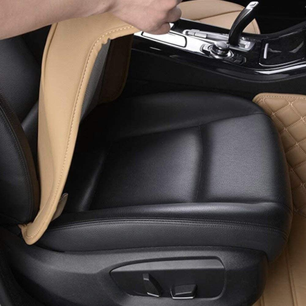 Big Ant Edge Wrapping 2pc Car Front Seat Cushion Cover Pad Mat for Auto Supplies Office Chair with PU Leather Grey