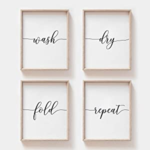 MoharWall Laundry Room Wall Art Set of 4 Wash Dry Fold Repeat Quotes Poster Laundry Quotes Décor