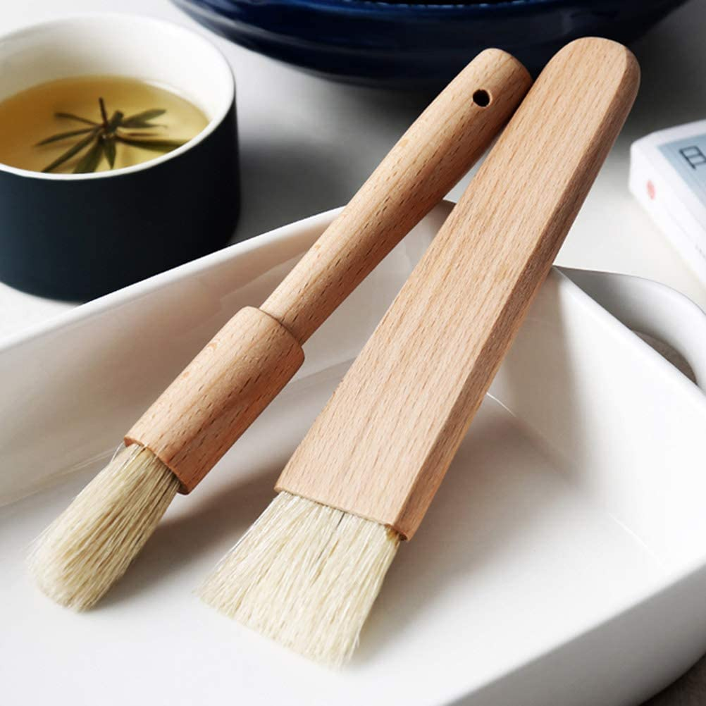 Fyeep Natural Bristle Wooden Handle Pastry Brush Cooking Baking Brush