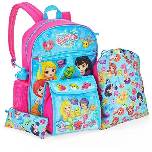 Backpack Nap Sack (Splashlings Girls Backpack Set - Backpack, Lunch Bag, Pencil Case, Water Bottle & Cinch Sack)
