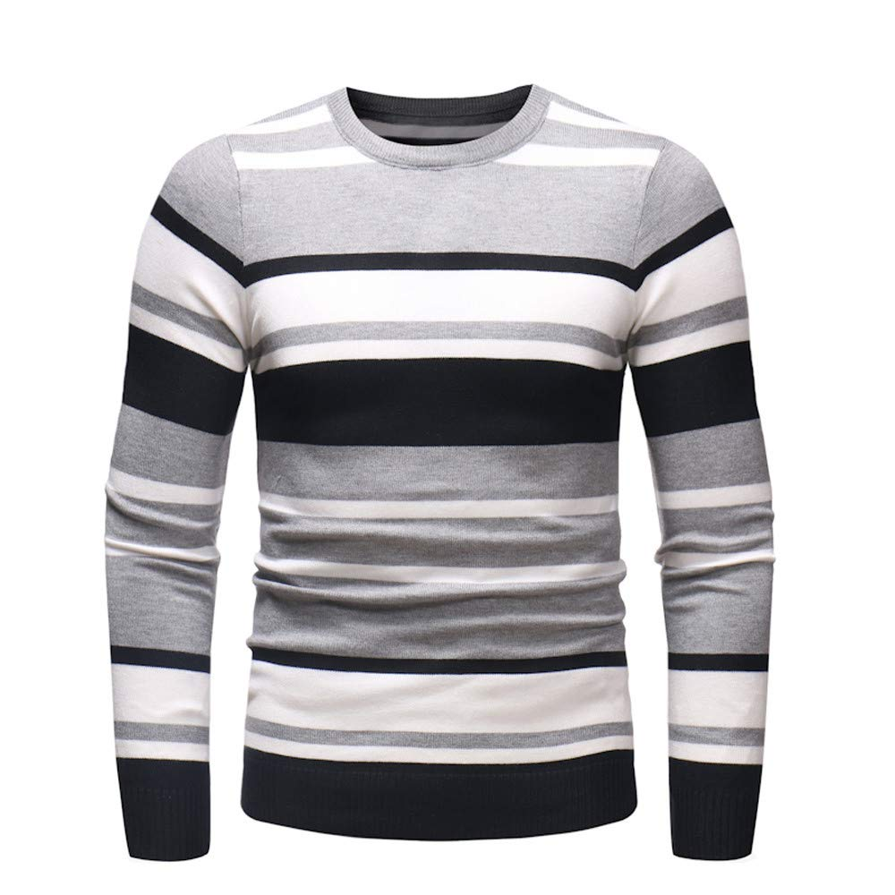 Dacawin Fashion Casual Men's Long Sleeve Stripe Slim Comfort Sweater Pullover Jumper Knitwear Blouse by Dacawin (Image #1)