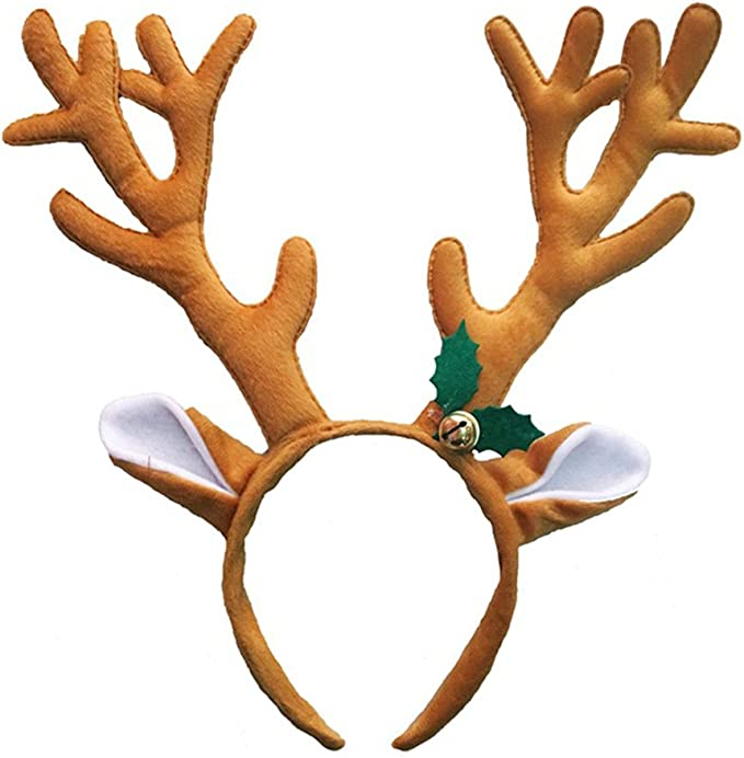 Brown Baby Reindeer Antlers and Ears Alice Hair Band Headband Xmas Accessories