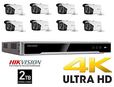 HIKKIT2- Cámara de Seguridad Hikvision 4K CCTV NVR 8MP Kit de grabación en el hogar