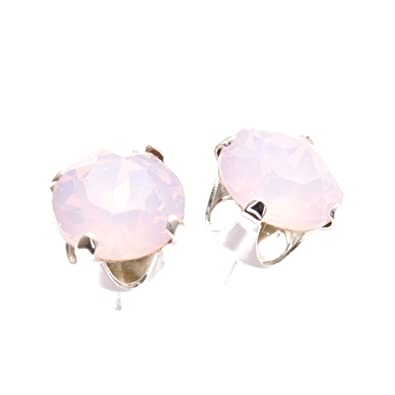 754f60616 925 Sterling Silver stud earrings for women made with sparkling Rose Water  Opal crystal from Swarovski