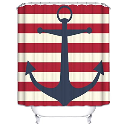 Wimaha Anchor Shower Curtain Fabric Stripe Shower Curtain Mildew Resistant  Water Repellent For Bathroom 72W X