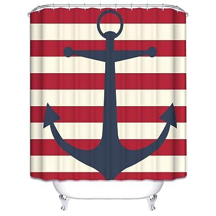 Amazon.com: Wimaha Anchor Shower Curtain Fabric Stripe Shower ...