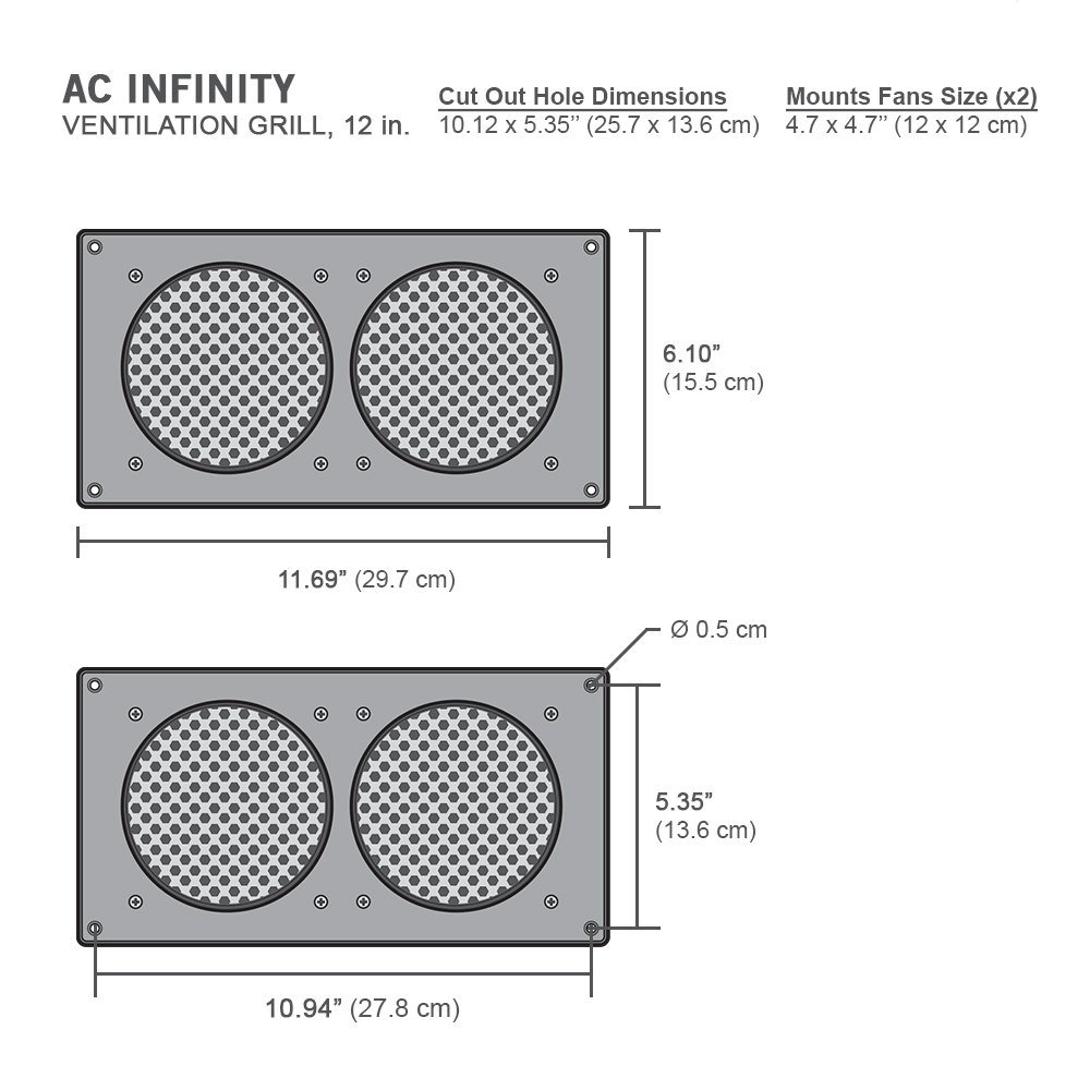 Ac Infinity White Ventilation Grille 12 For Pc Wiring Closet Computer Av Electronic Cabinets Replacement Airplate S7 T7 Home Audio Theater