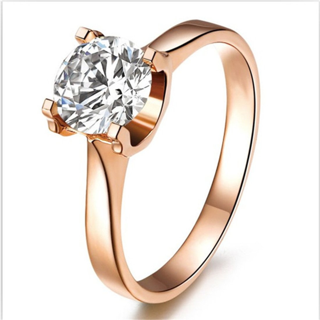 18K Rose Gold Plated 1CT Solitaire Engagement Ring NSCD Diamond Ring Women Sterling Silver Ring 3MJEWELRY SRMJZ0118