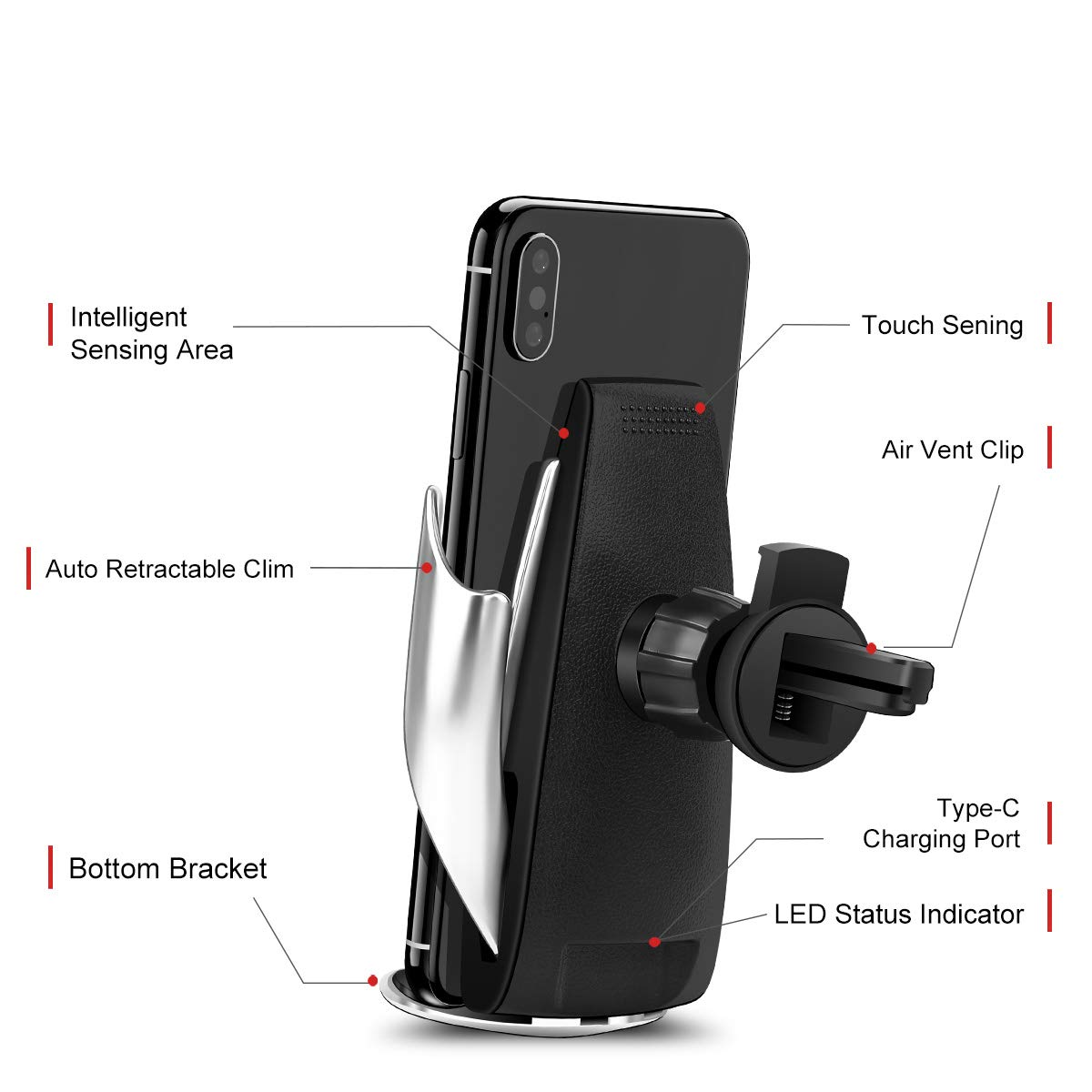RONY Wireless Car Charger Samsung Galaxy Note 9// S9// S9+// S8 etc. Automatic Clamping Wireless Car Charger Mount 10W Fast Charging Car Charger Holder Compatible with iPhone Xs//Xs Max//XR//X //8