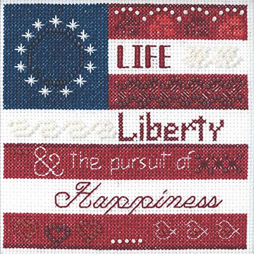 Life, Liberty Beaded Counted Cross Stitch Kit Mill Hill 2019 Patriotic Quartet Collection - Mill Cross Stitch Kit