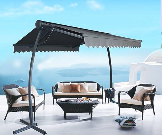 ANTEROOF anter oof eléctrica Marquesina Toldo mobile sol protección solar resistente al agua y a los rayos UVA gris: Amazon.es: Jardín