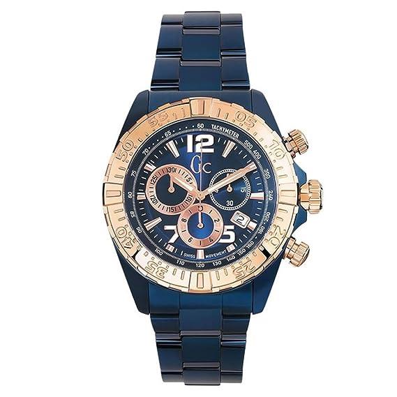 Guess y02008g7 Hombre Sport Racer Azul Pulsera de Acero Chrono Reloj: Amazon.es: Relojes