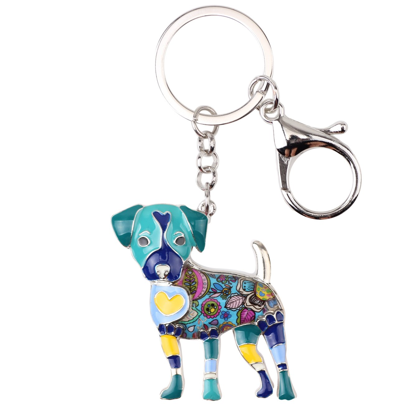 Bonsny Enamel Alloy Jack Russell Dog Key Chains For Women Gifts Car Purse Handbag Charms (Blue)