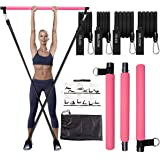 Pilates Bar Kit with Resistance Bands(2 Standard &2 Strong),Protable Exercise Stick and Stackable Bands,Perfect Stretched Fus