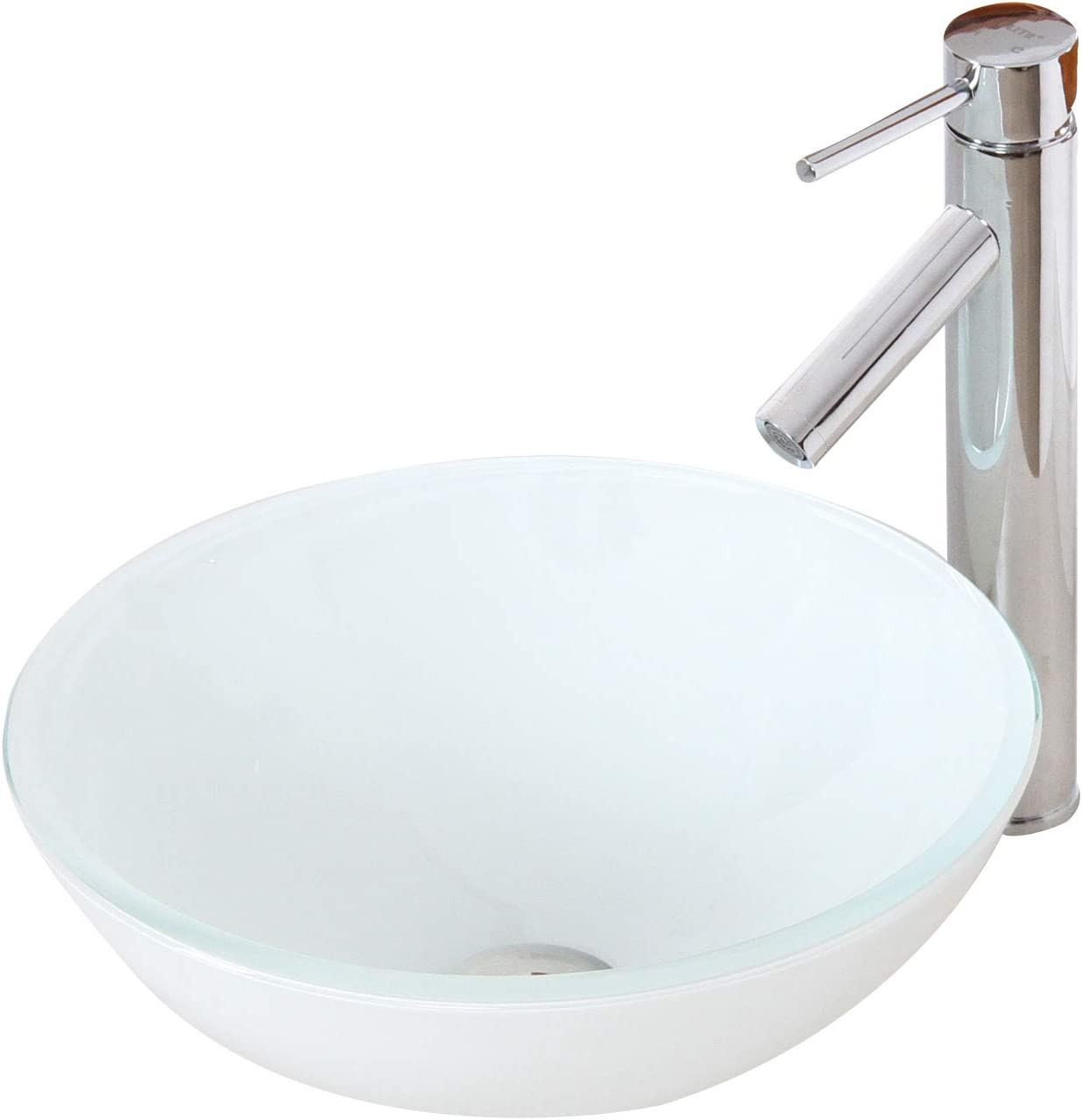 ELITE Tempered Bathroom White Pattern Glass Vessel Sink Chrome Faucet Combo