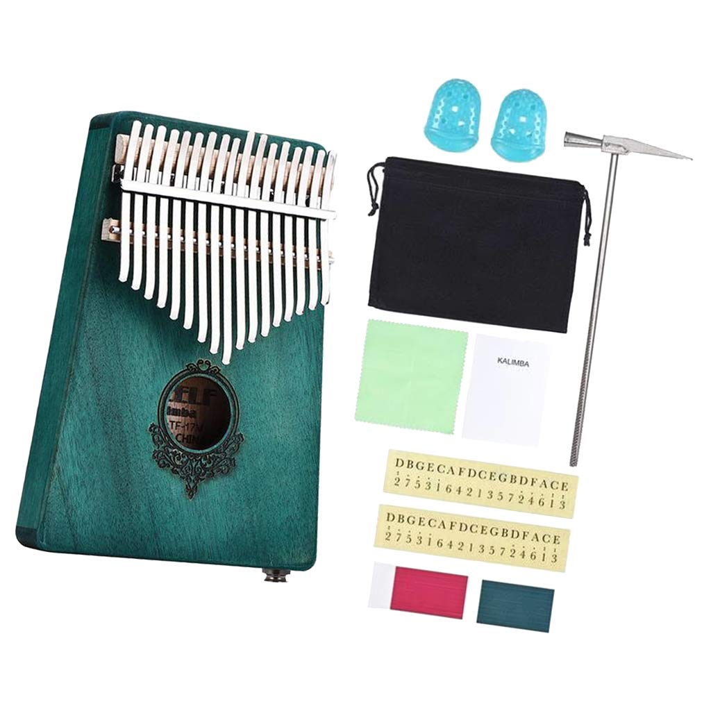 Flameer 17 Key Kalimba Thumb Piano Mbira African Instrument - Cyan, as described