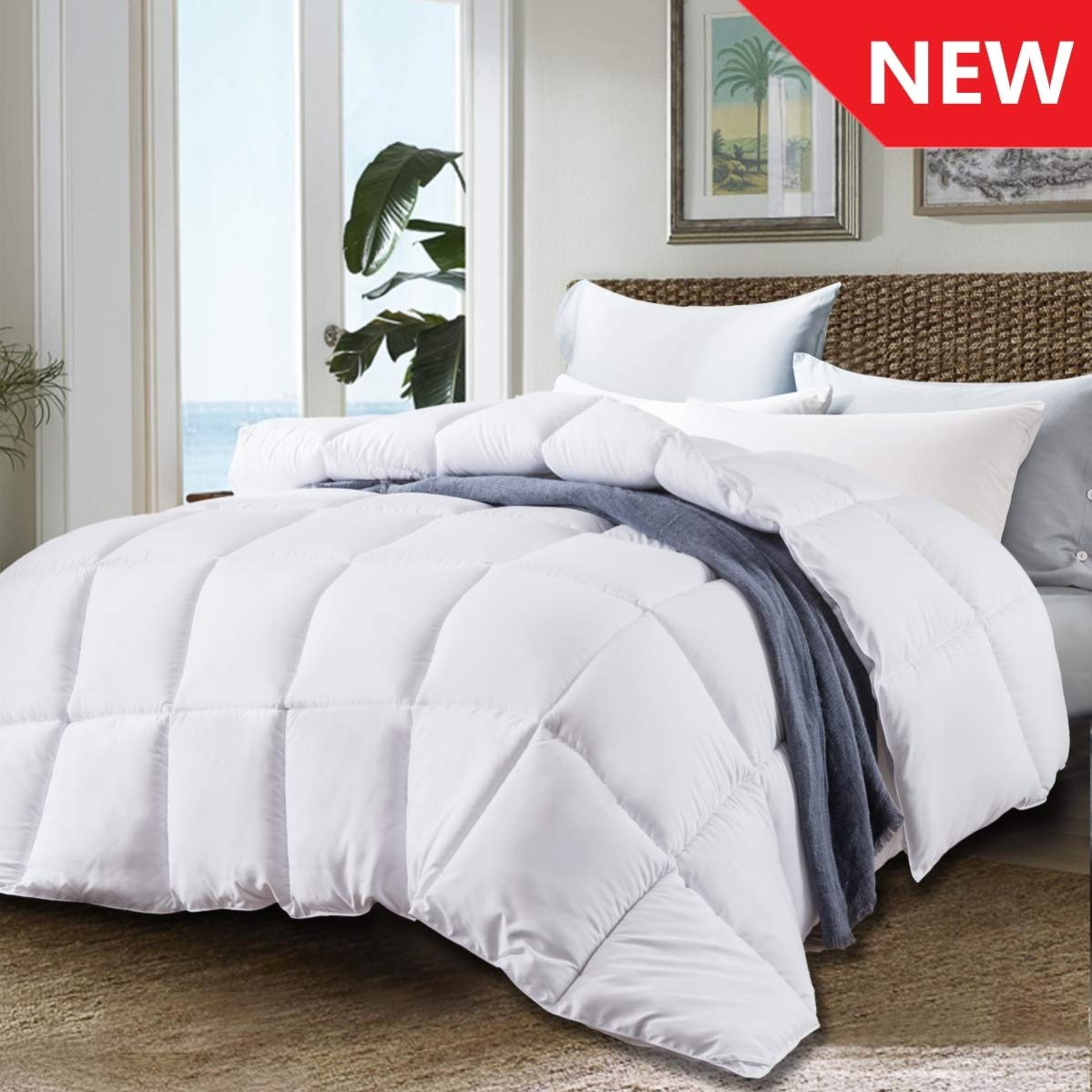 JURLYNE Twin White Comforter Quilted Reversible Duvet Insert, Hypoallergenic Breathable for All Season, Fluffy Light-Weighted Down Alternative Comforter by JURLYNE