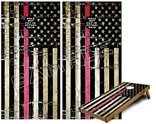 Cornhole Bag Toss Game Board Vinyl Wrap Skin Kit - Painted Faded and Cracked Pink Line USA American Flag (fits 24x48 game boards - Gameboards NOT ()