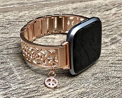 Brushed Rose Gold Metal Bracelet For Fitbit Versa Smartwatch Handmade Flowers Design Adjustable Size Fitbit Versa Watch Band Rose Gold CZ Peace Sign Charm Fitbit Watch Jewelry -