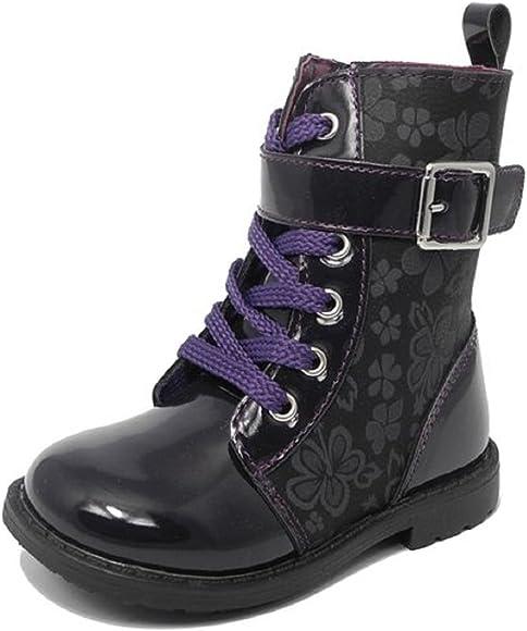 and Purple Patent Biker Boots