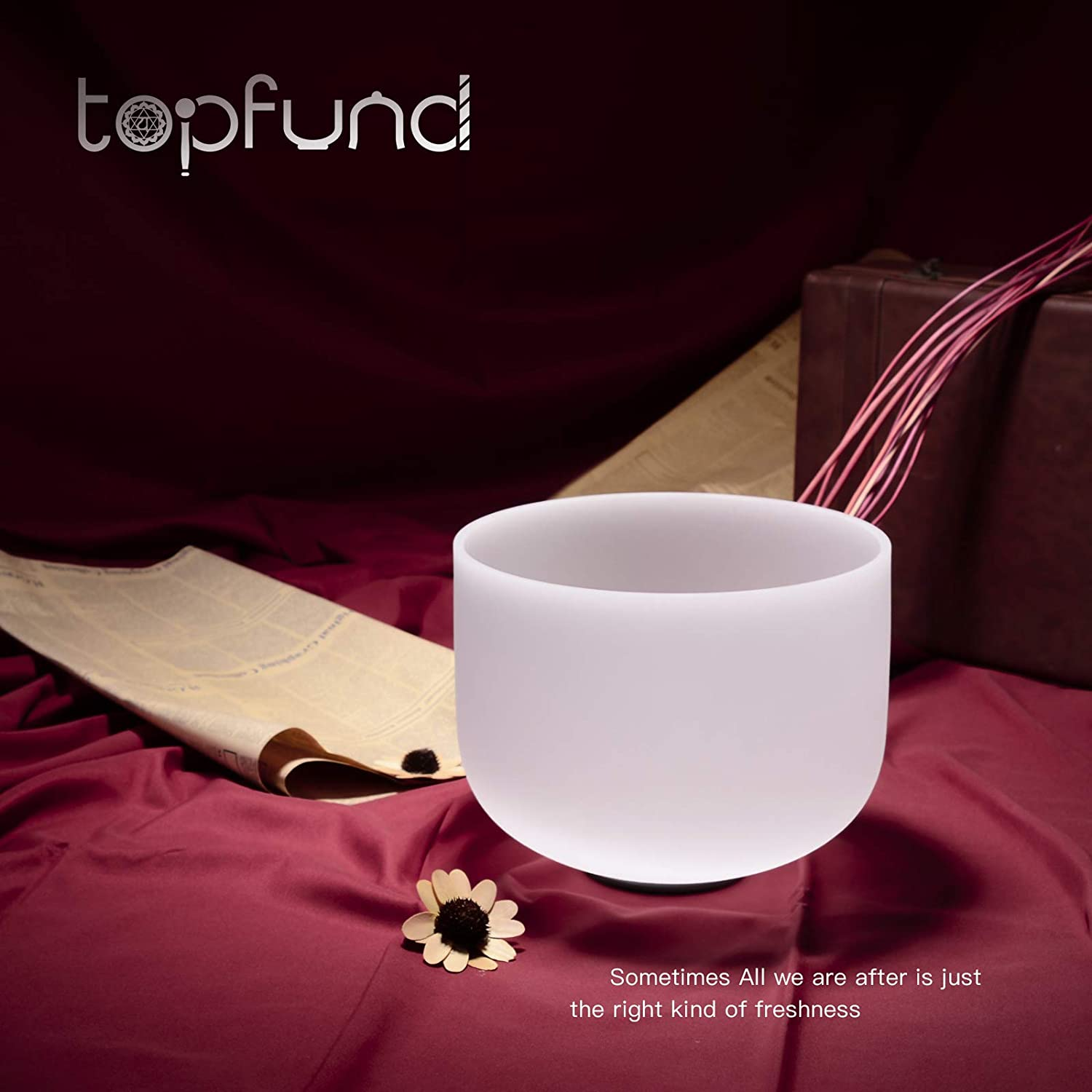 TOPFUND G Note Crystal Singing Bowl Throat Chakra Blue Color 10 inch Heavy Duty Crystal Singing Bowl Carrying Case Singing Bowl Suede Striker O-ring included