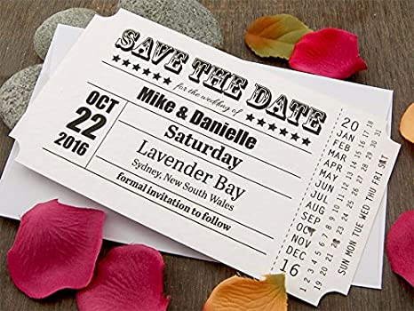 Summer-Ray 108 White Vintage My Big Day Ticket Wedding Save the Date Cards