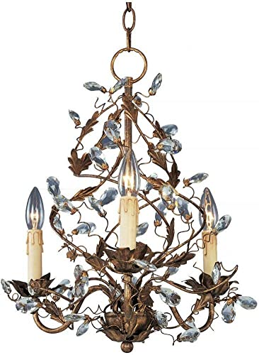 Maxim Lighting 2850EG Elegante – Three Light Chandelier, Etruscan Gold Finish