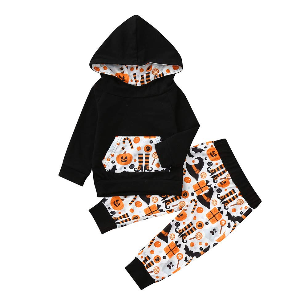 Infant Long Sleeve Outfit Baby Boys Girls Pumpkin Cartoon Hooded Tops + Pants Halloween Costume Clothing Set for 0-24 Months