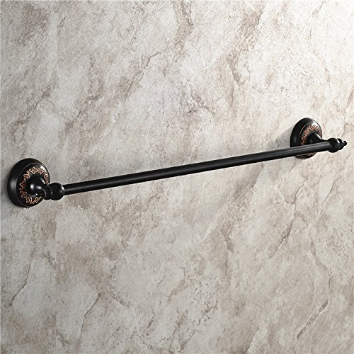 MBYW Modern Minimalist high Load-Bearing Towel Rack Bathroom Towel Rail European Antique Towel Rack Copper Black Towel bar Bathroom Pendant Single Rod Towel Rack Suitable for Bathroom ()