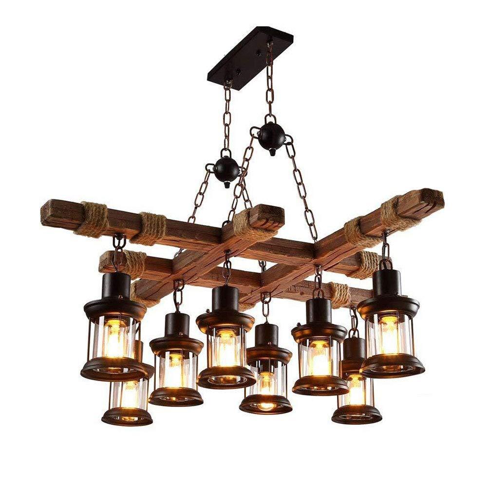 LIKEDA Vintage Holz Kronleuchter 8 Kopf Vintage Industrial Style Decke Große Küche Edison Retro Style Cafe Wohnzimmer Esszimmer Licht Warmes Licht Hohe Qualität Sicherheit,220V/E27