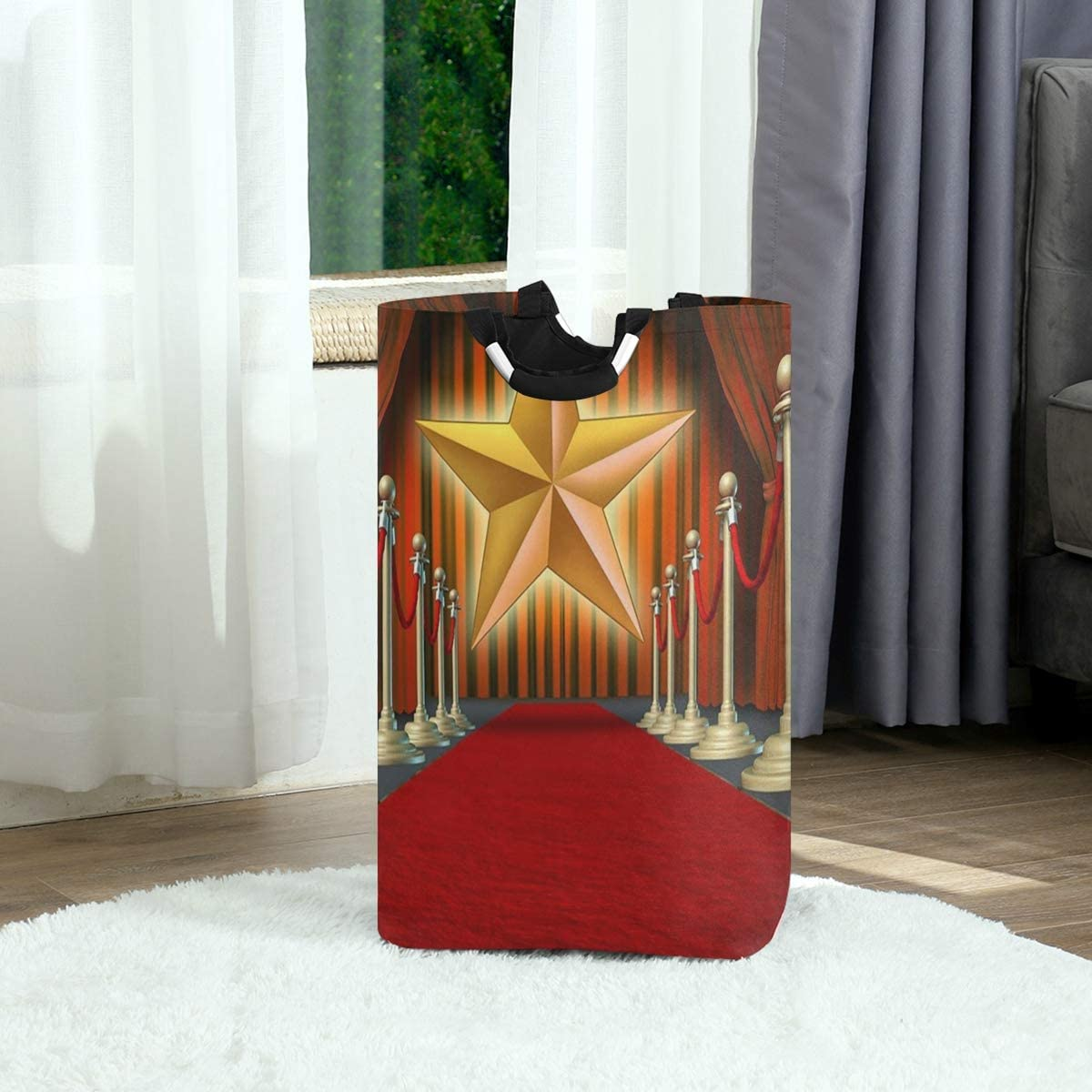 GRATNNA Laundry Bag Red Stage Carpet Grand at Podium with Curtains Stars Large Laundry Hamper Bags for Heavy-Duty Use with Strap,Standing Clothes Basket Collapsible for Dorm Travel Bathroom