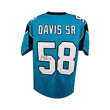 uk availability 73670 2f657 Thomas Davis Sr Autographed Carolina Panthers Custom Blue ...