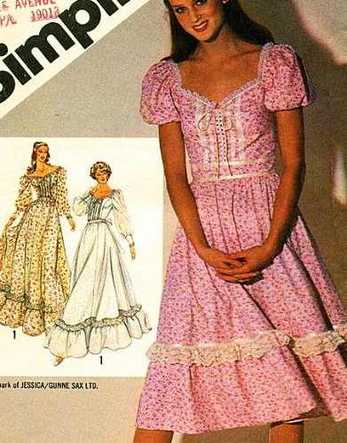Simplicity 5093 Misses' Fitted Dress in Two Lengths, Gunne Sax Design by Jessica McClintock: Vintage Sewing Pattern, Maxi Wedding Dress, Brides Maid -