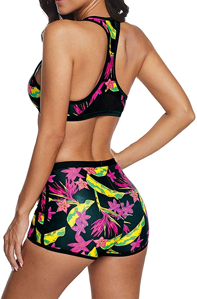 Leewa Swimsuit Woman Brazilian Sports Tank Top Bikini Two Pieces High Waist