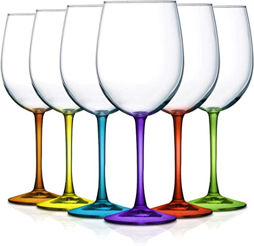 Set of 6 Multi Colored Party Stemmed Wine Glasses Small 8 oz