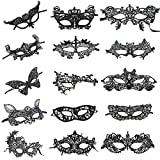 Women's Sexy Black Lace Venetian Masquerade Masks Halloween Party Pack of 15