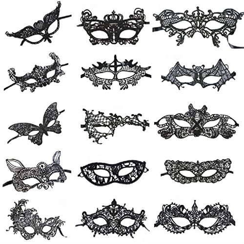 [Venetian Style Black Sexy Lace Masquerade Party Masks Set of 15] (Bulk Venetian Masks)