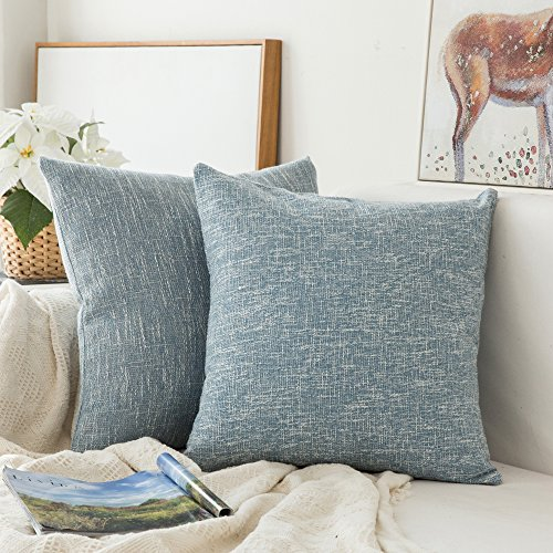 MIULEE Pack of 2, Decoration Linen Burlap Decor Square Throw Cushion Cover Cushion Case for Living Room Sofa Bedroom Car 18 x 18 Inch 45 x 45 cm (Pottery La Barn)