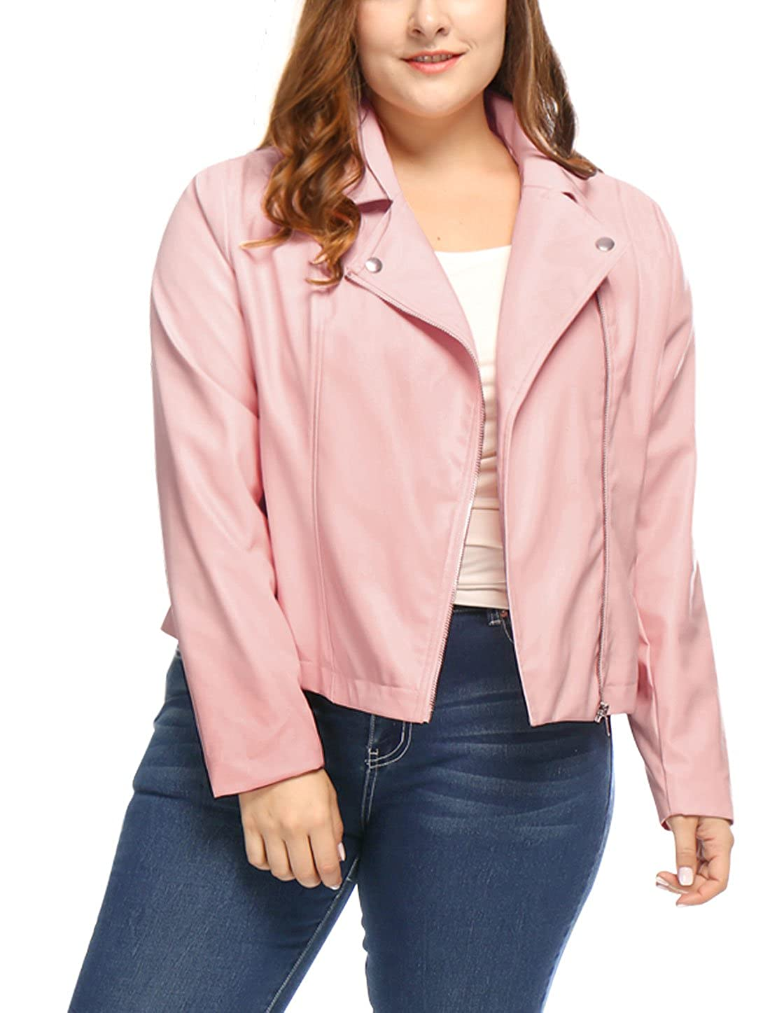 uxcell Women's Plus Size Asymmetrical Zip Front PU Leather Moto Jacket 1X Pink a16101400ux0239